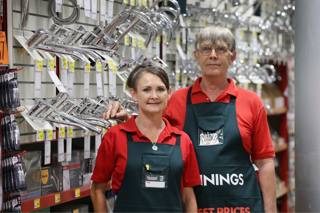 Long-time Bunnings employees Fiona Sermon and Henk Poepjes at the new double-storey Bunnings.  Picture: Andrew Ritchie         d445704