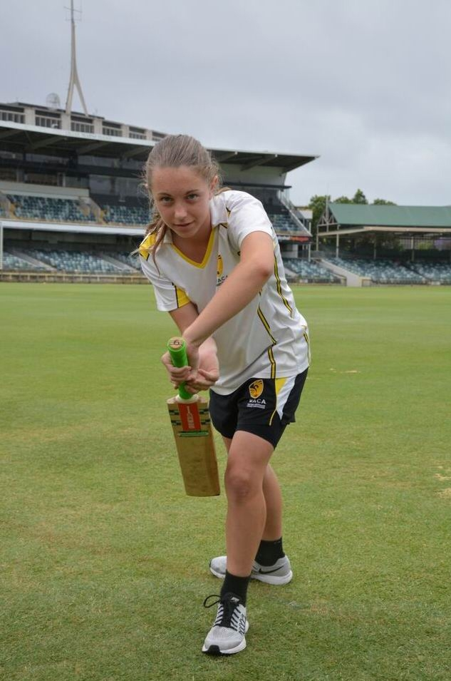 Kailey Wheatcroft of Canning Vale shows her batting technique.