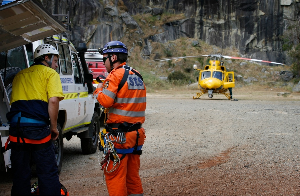 State Emergency Services and RAC rescue helicopter personnel helped rescue a man who fell into Boya Quarry.   Picture: Marie Nirme www.communitypix.com.au   d445953