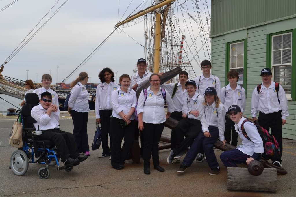 KIC iDiversity Project students during their day tour at Fremantle Port and the Leeuwin II.