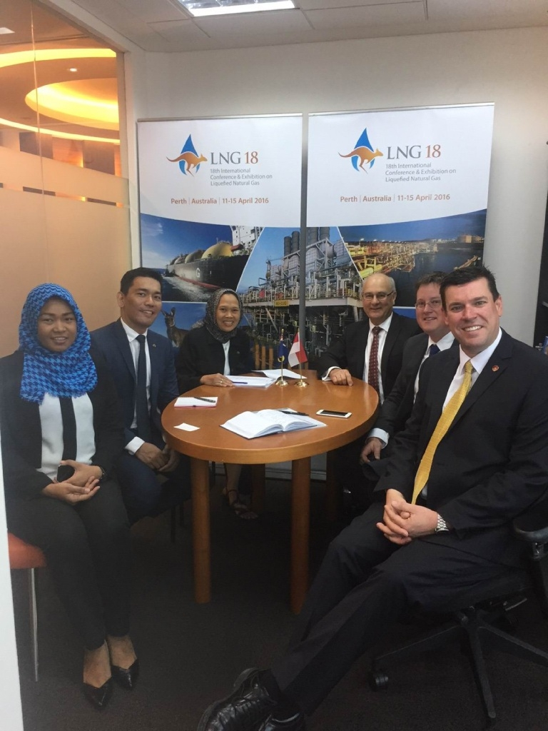 South Metropolitan Region MLC Phil Edman and Agricultural Region MLC Brian Ellis with Jakarta trade office staff.