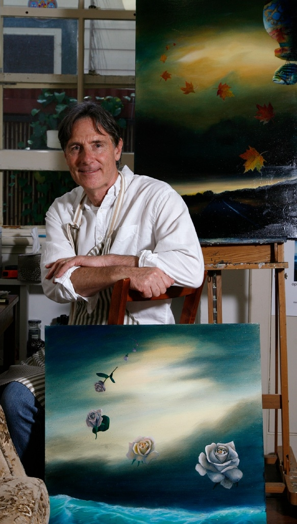 Artist Chris McClelland in his studio with some of his new pieces. Picture: Marie Nirme www.communitypix.com.au   d445165