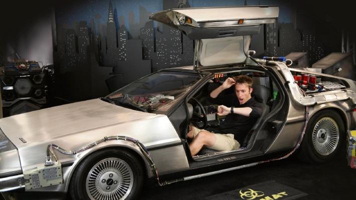 Conductor Nicholas Buc travels Back to the Future in the DeLorean.