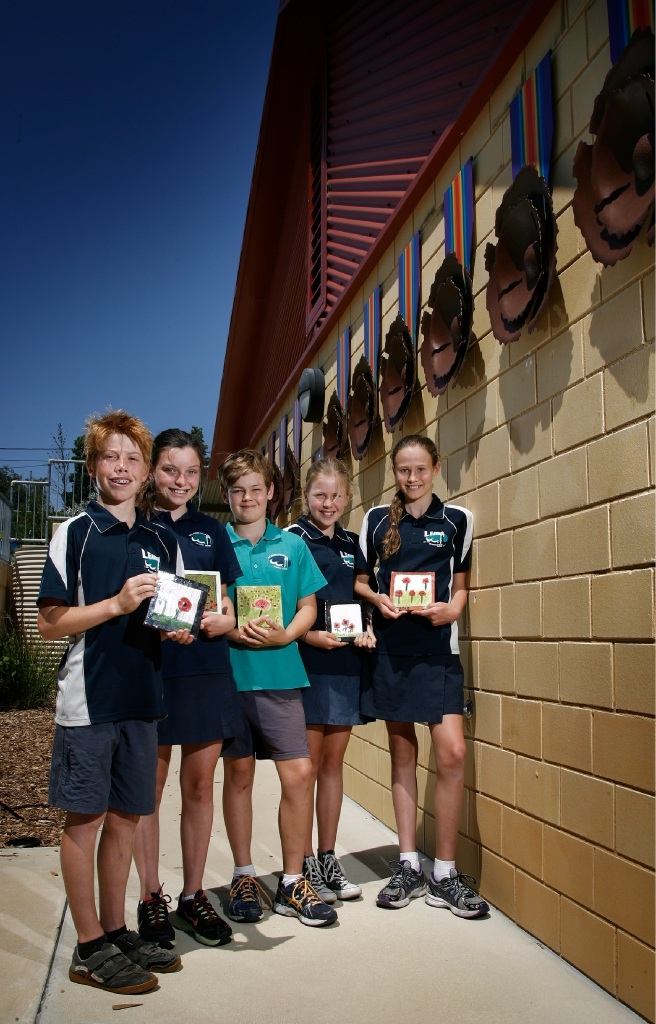 Beaconsfield Primary School students (L-R) Daniel Felipe (12), Georgie Bortolotti (12), Ellis Grant (11), Poppy Chartres (12) and Indigo James (11)