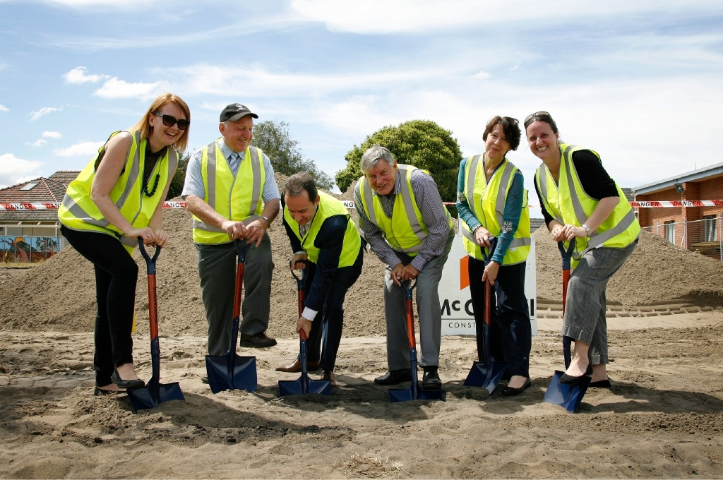 With shovels in hand for the sod turning ceremony for new facilities at Lathlain Place were (from left) Lathlain Playgroup secretary Kat Wray, Councillor Kaith Hayes, Town of Victoria Park CEO Anthony Vuleta, Mayor Trevor Vaughan, Department of Health officer Corinne Ralph and Carlisle/Victoria Park Toy Library president Luana Lisandro. Picture: Marie Nirme        www.communitypix.com.au   d445880