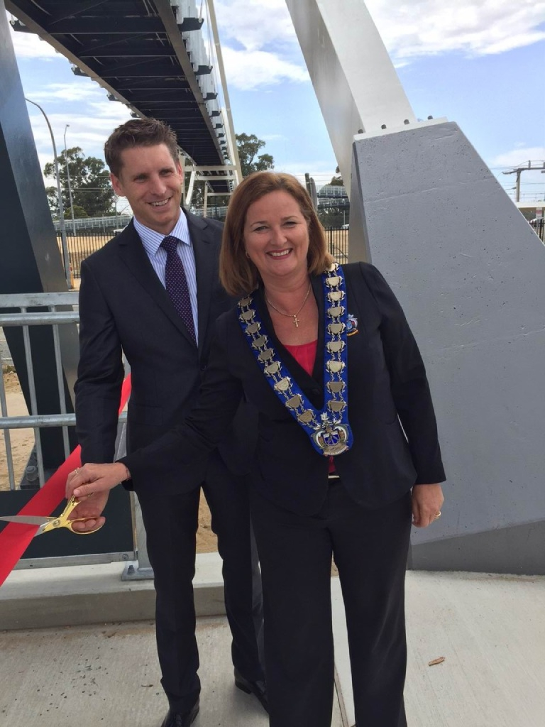 Canning MHR Andrew Hastie and Mandurah Mayor Marina Vergone.