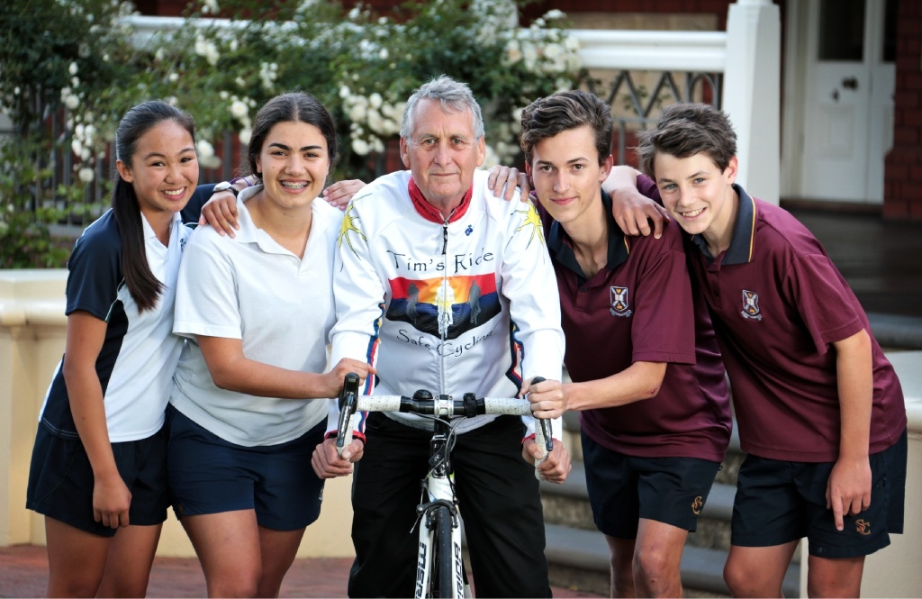PLC students Angelica Villafuerte and Yasmeen Razvi with Ian Anderson and Scotch College students Fraser Cull and Gyles Davies.Picture: David Baylis www.communitypix.com.au   d445906
