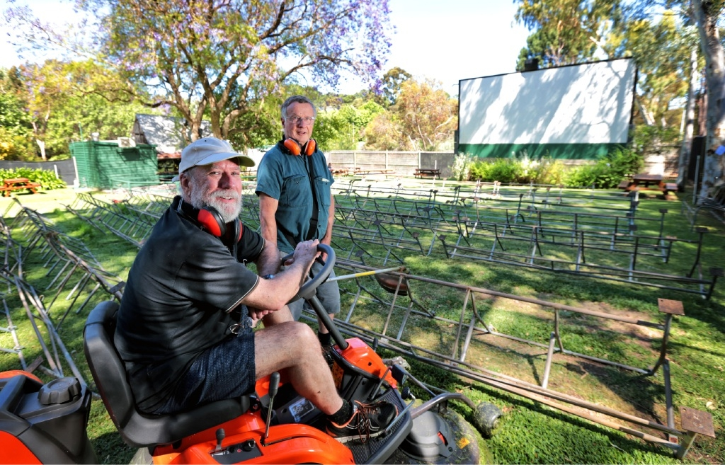 Peter Foyster of Roleystone (Owner) and Alf Leaver of Greenmount (Grounds Keeper and Doorman). Seen here getting the cinema and grounds ready. The Kookaburra Cinema in Mundaring is re-opening under new ownership on November 20. Picture: David Baylis. d446249
