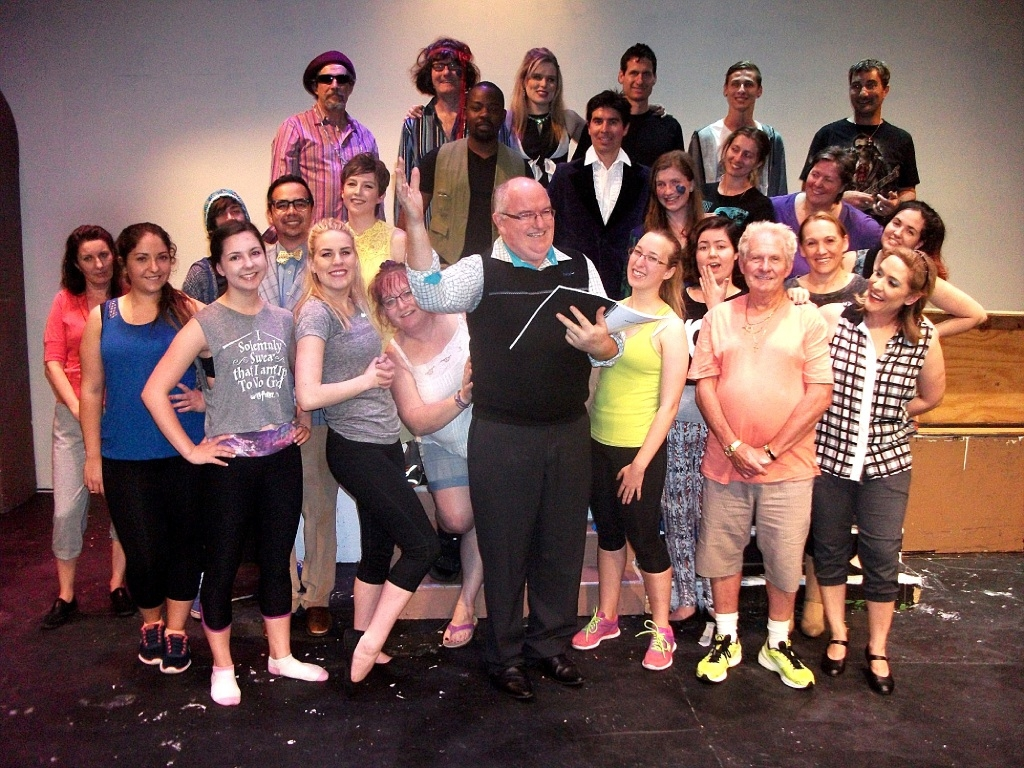 David Nelson with members of the cast and crew of classic musical comedy Sweet Charity.