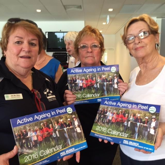 Seniors Recreation Council Peel branch members Jan McGlinn, Ronnie Beaton and Julia Ralph with copies of the calendar.