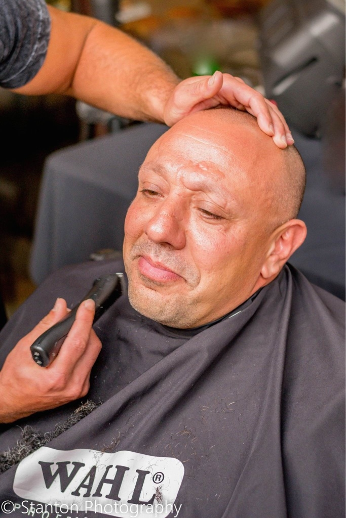 Getting his goatee: Ray Mancini getting shaved. Picture: Karla Stanton