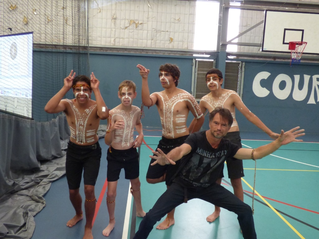 Aboriginal dancers Zac Merritt, Kobe Barnes, Mitchell Merritt and Neil Borsi with Derek |Nannup.