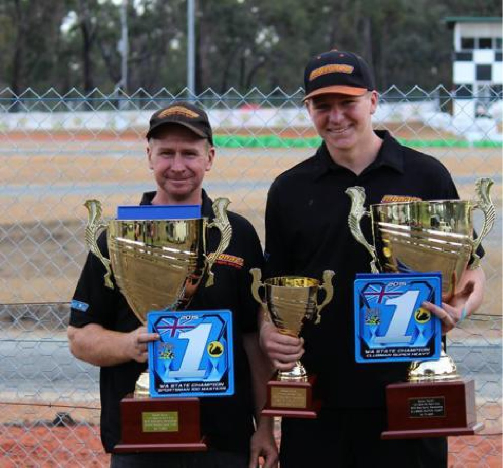 Proud father and son in the State record books for karting