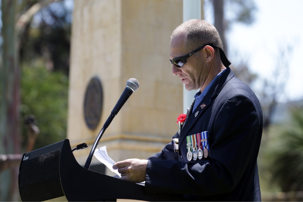 Afghanistan war veteran Steve Cloutman was guest speaker at the Wanneroo-Joondalup RSL service.Picture: Martin Kennealey d446160