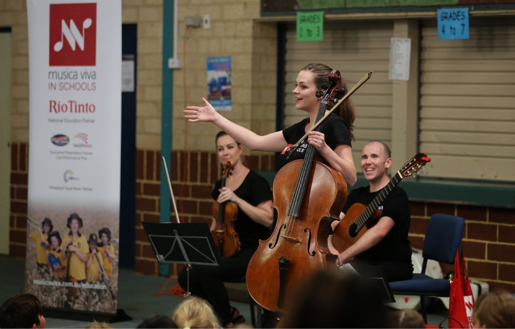 Rachael Aquilina, Sophie Curtis and Duncan Gardiner from Fiddlesticks perform at Landsdale Primary School. Picture: Martin Kennealey www.communitypix.com.au d445042
