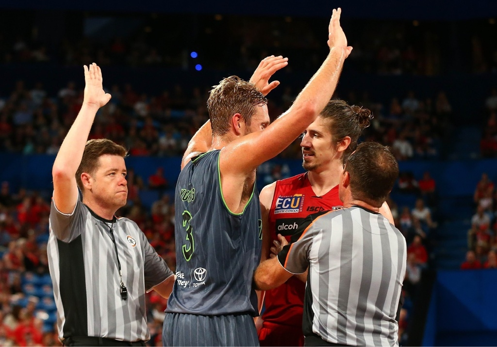 Spiteful contest... Hire in action for the Perth Wildcats against the Townsville Crocodiles. Picture: Getty Images
