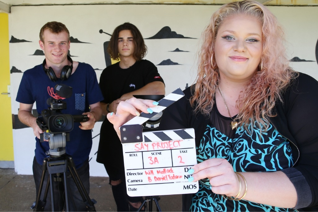 Will Mattock, Daniel Todorov and actor with Vanessa Hopes made a short film that came third in a competition to raise awareness of the dangers of alcohol. Picture: Andrew Ritchie d446451