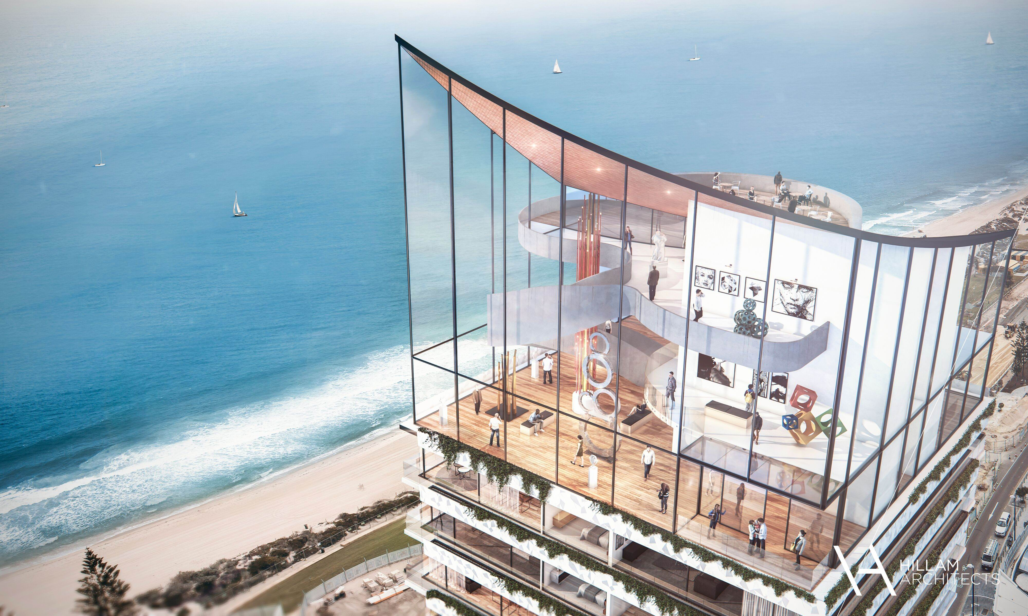 Artist's impression of the proposed 40-storey hotel at Scarborough foreshore.