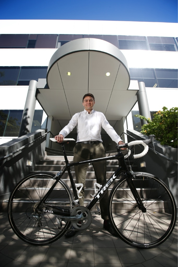 Sizing up: Luke  Sizer is cycling to raise money for  Ronald McDonald House. Picture: Andrew Ritchie        d446324