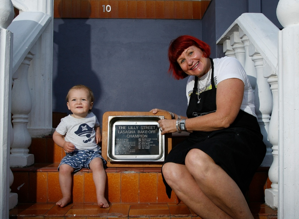 Lilly Street residents Jenny Baker and her neighbour Joe Yeowart (14 months old), Picture: Marie Nirme        www.communitypix.com.au   d446144