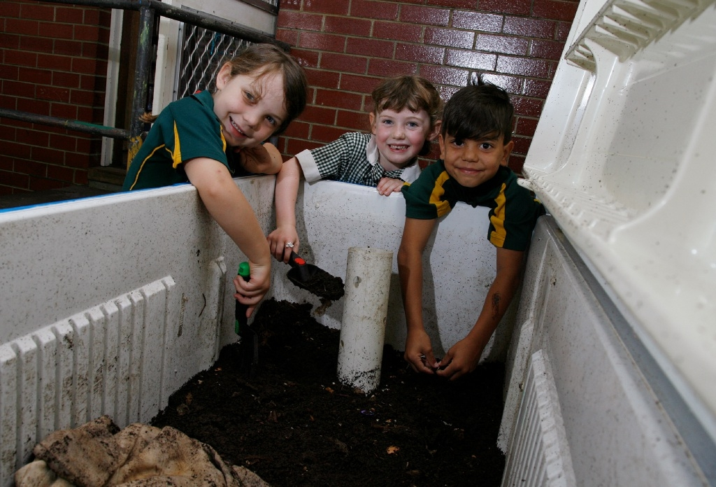 Hilton Primary School students Addison McKay, Georgia Moffin and Cameron Maynard. Picture: Marie Nirme         d446315