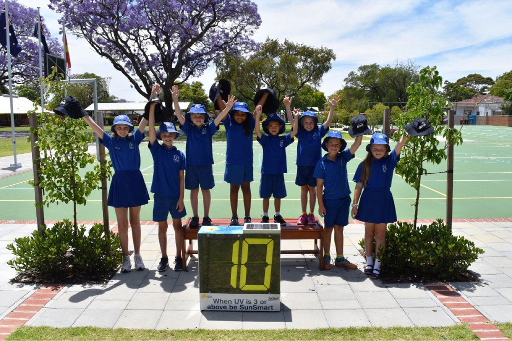 Mt Lawley Primary School students prepare for summer with hats and a UV meter.
