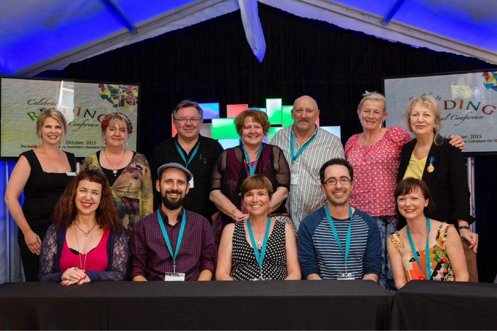 Australian children's authors and illustrators with The Literature Centre's Lesley Reece (far right, back row).