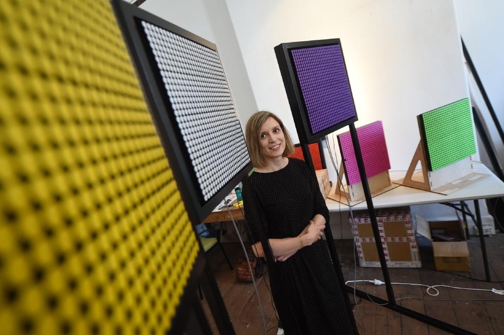 Artist Rebecca Baumann's latest exhibition explores the themes of colour, light and time.Picture: Jon Hewson www.communitypix.com.au   d446121