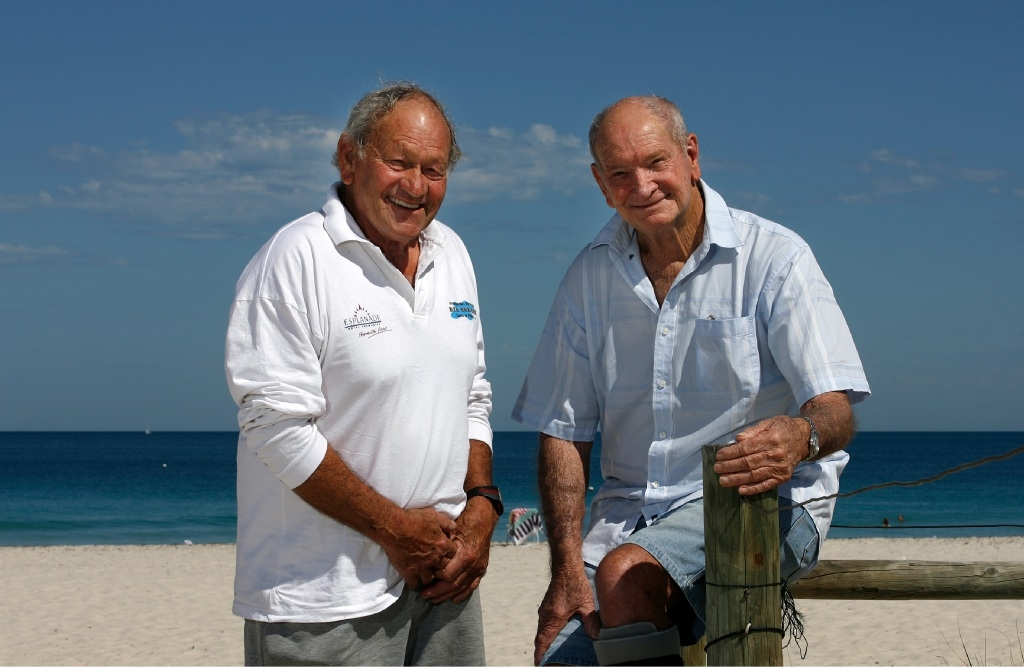 Les Stewart and Trevor Seaborn have a long history in open-water swimming.Picture: Marie Nirme        www.communitypix.com.au   d446369