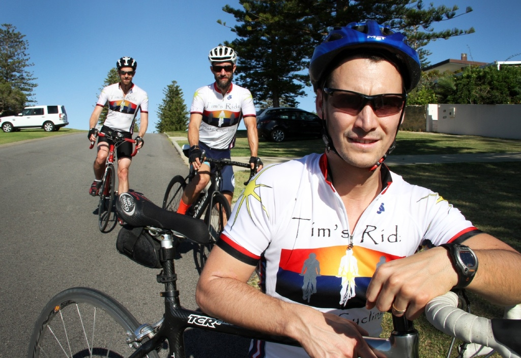 David McCutcheon, Daniel Caron and Ben Anderson take part in Tim's Ride, an annual event in memory of Tim Anderson, who was killed in 2012 by a drunk driver while cycling.  Picture: Robin Kornet        www.communitypix.com.au   d446514
