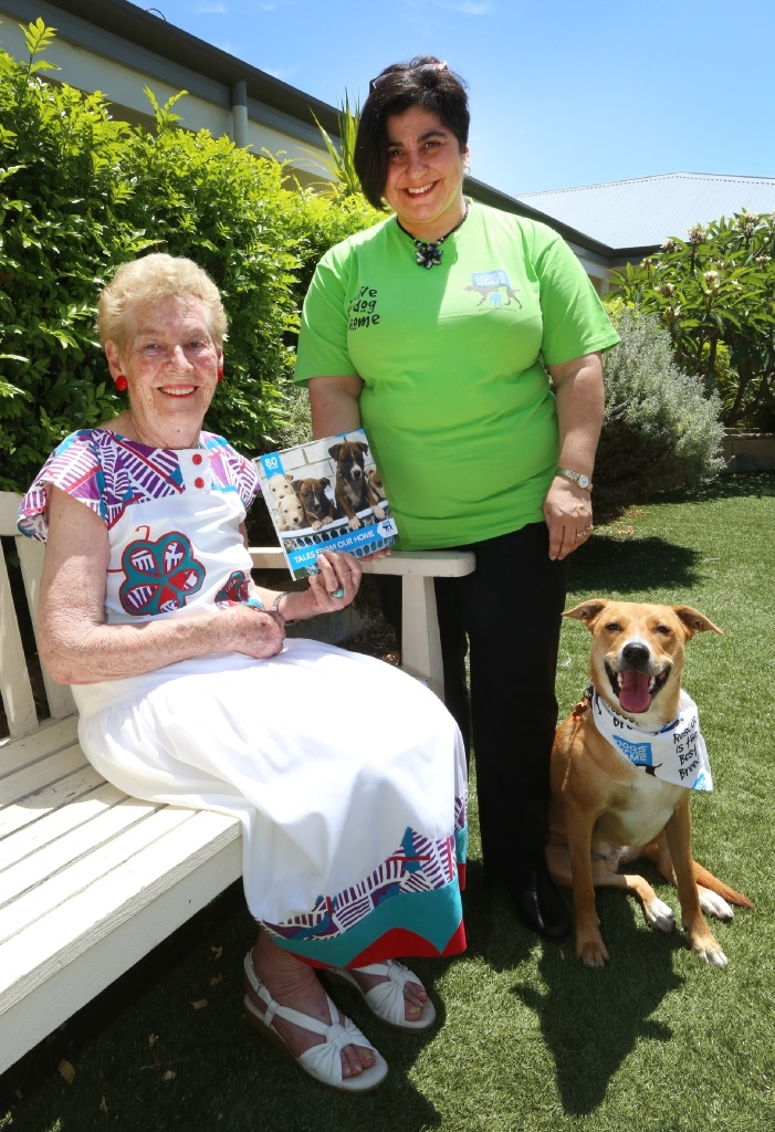 Resident Marjorie Newton, Dog Refuge Volunteer Lee-Anne Ashley and rescue dog Poppy. Picture: Matt Jelonek