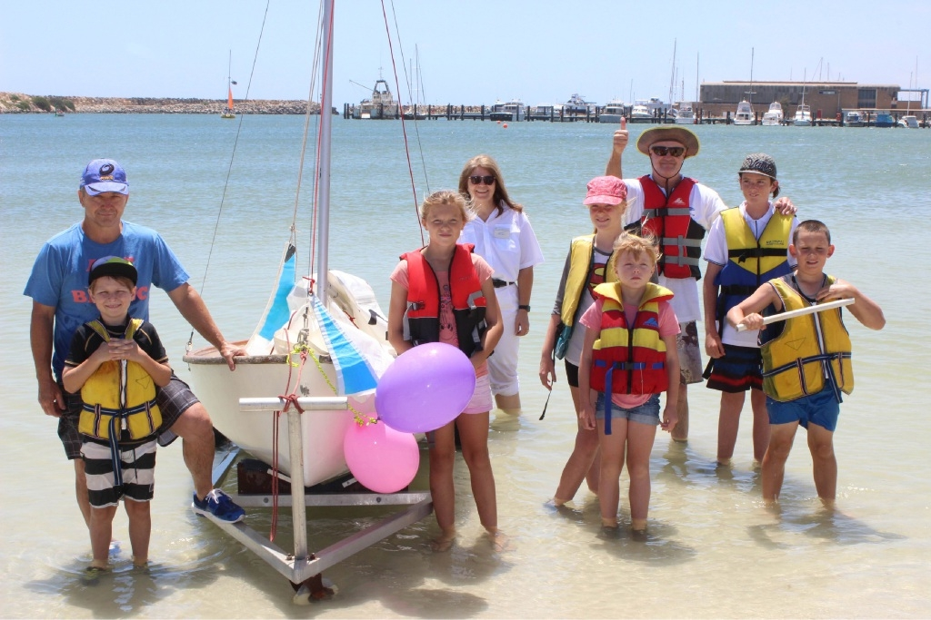 Club sailors return to shore: Steve Appleton and son Josh, Mia |Fraser, Shelly Miles, Adele Fraser, Casey Fraser, Dave White and son Bradley, and Floyd Bechnell.