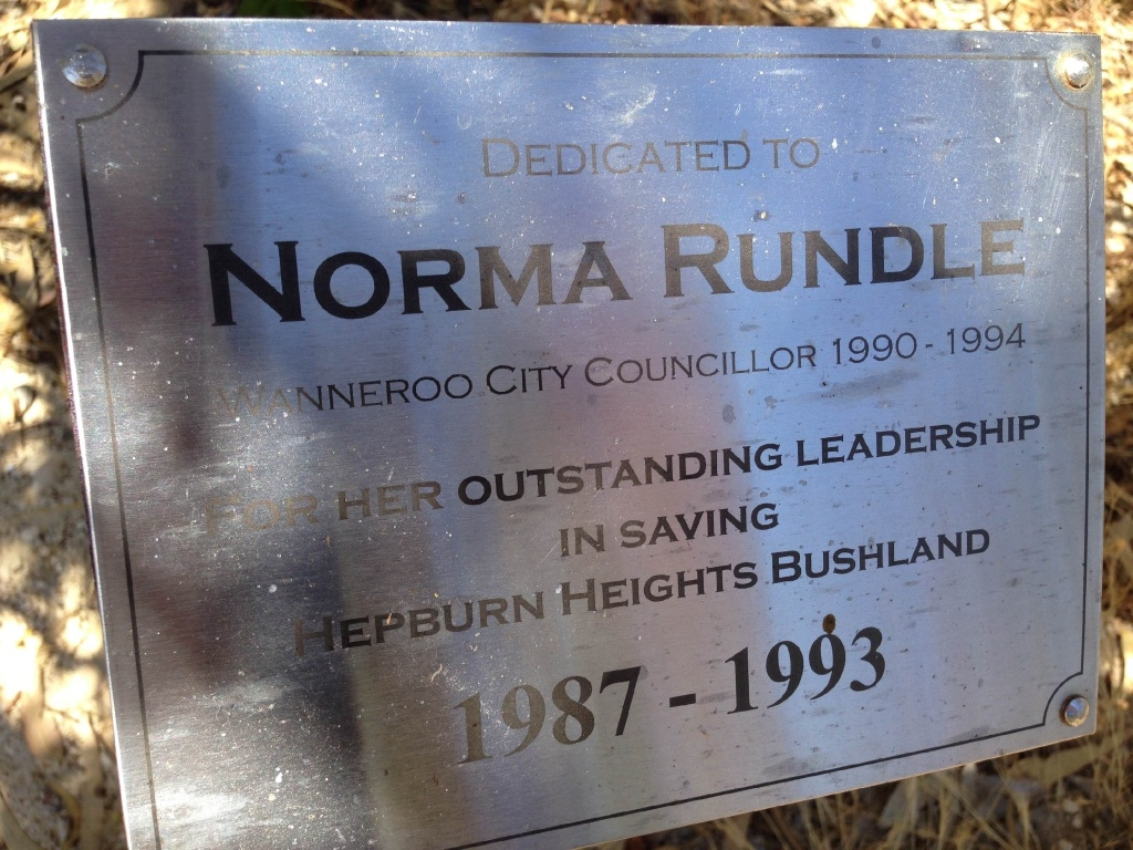 The plaque for Wanneroo councillor Norma Rundle.