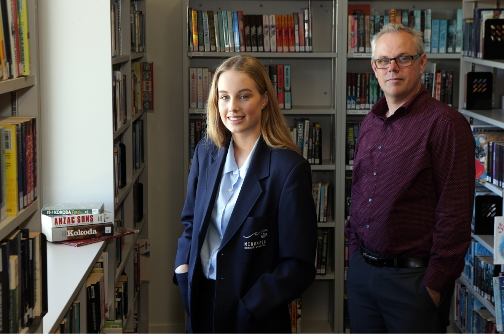 Mindarie Senior College Year 11 student Emily Bredemeyer with teacher James McNeill.  Picture: Martin  Kennealey