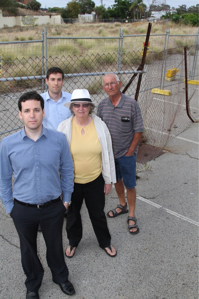 Maylands residents Elliaz Pik, Tim Patterson, Marie-Louise McDermolt and Frank Pola at the site. Picture: Lauren Pilat