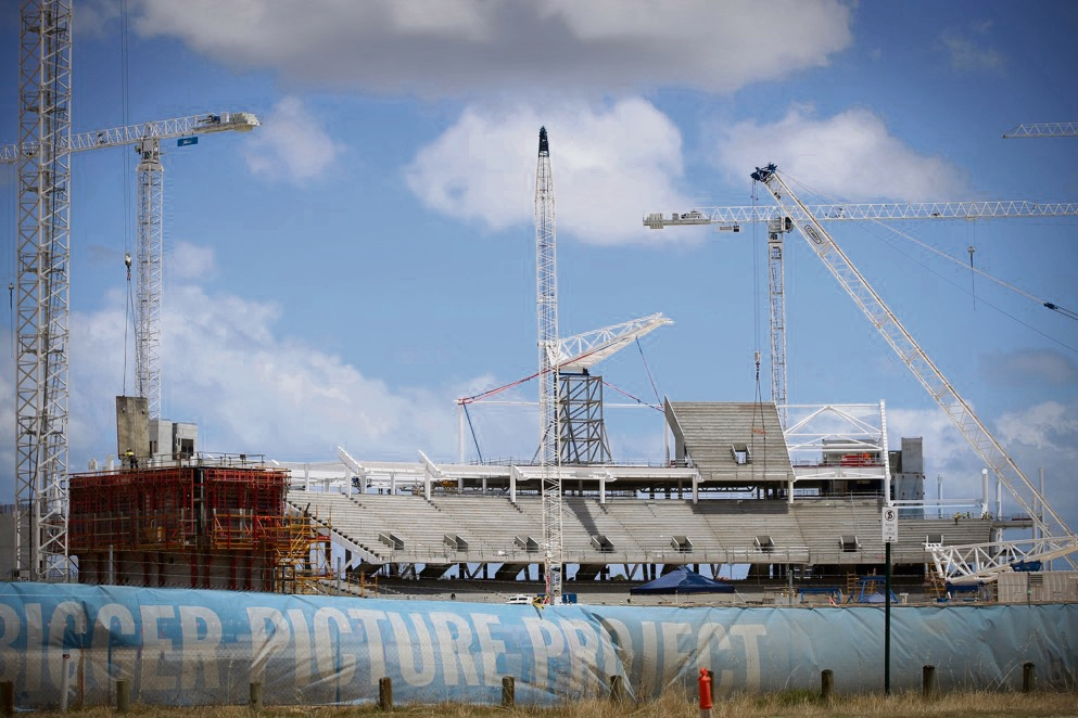 Construction on the $1.4 billion Perth Stadium is almost one third complete. Picture: Andrew Ritchie.