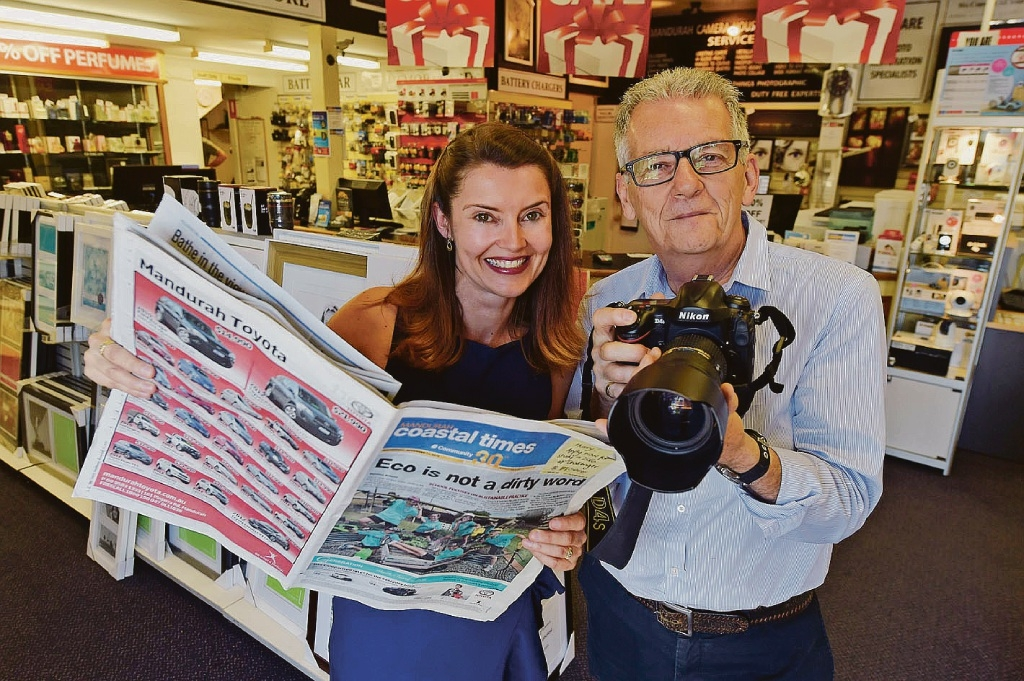 Mandurah Coastal Times editor Vanessa Schmitt and Mandurah Camera House co-owner Peter Taylor are excited about the photo competition.