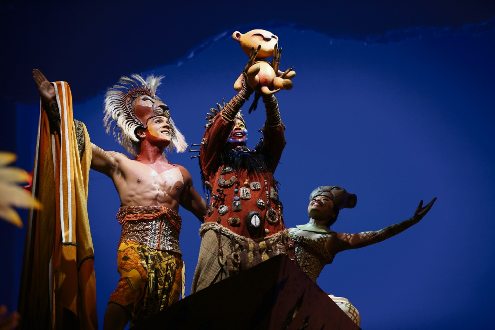 Nick Afoa, Buyi Zama and Josslynn Hlenti in The Lion King. Picture: Andrew Ritchie
