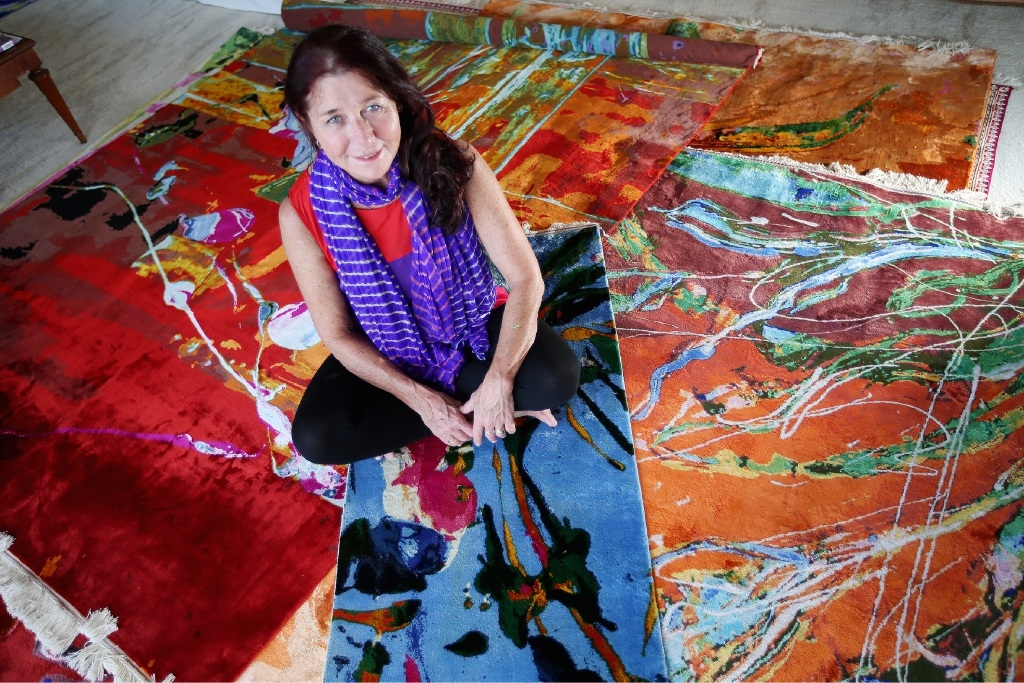 Artist Dena Lawrence has her works weaved into pure silk carpets in Kashmir.  Picture: Andrew Ritchie        www.communitypix.com.au   d446524