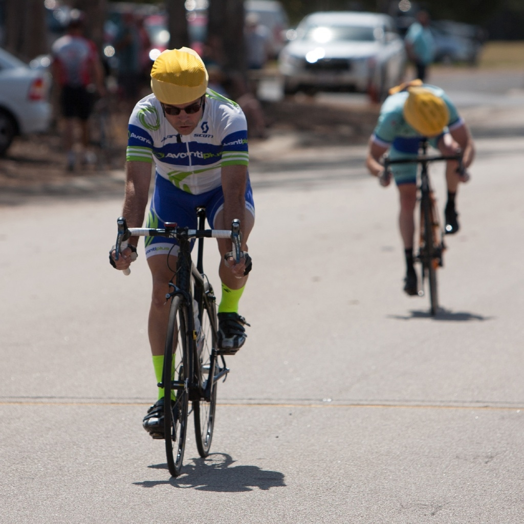 Theo Yates, left, wins the A-grade race from Wade Longworth, centre, and David Nickels, right. Pictures: Nick CowieStephen Leahy wins the B-grade race.