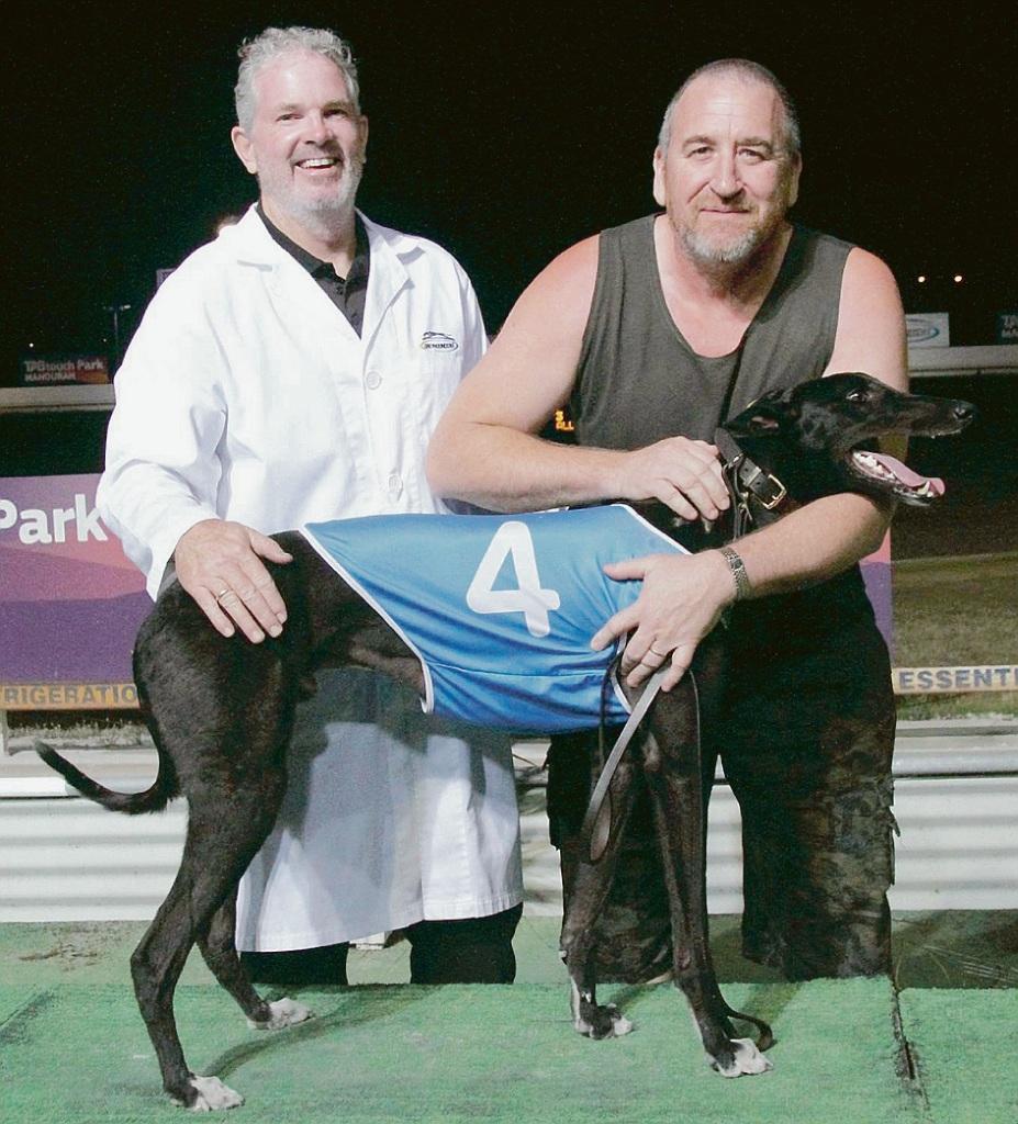 Katsuro Sahara with trainer Michael Johnston and owner Darren Raines.