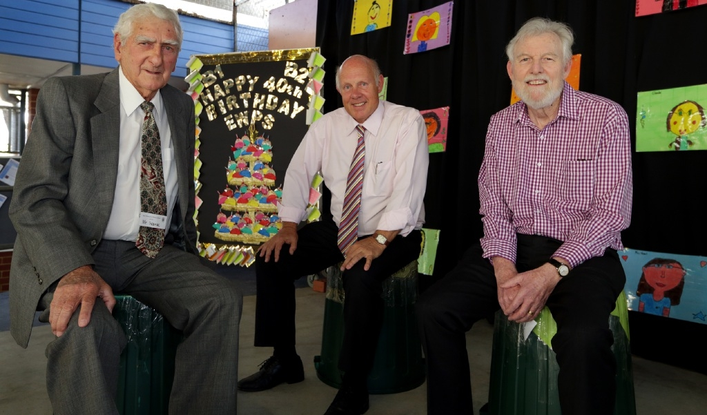 Principal Bill Dawson (centre) with the school's first principal Kevin Ivanac and first deputy principal Phil Ridden. Picture: Martin Kennealey www.communitypix.com.au   d446799