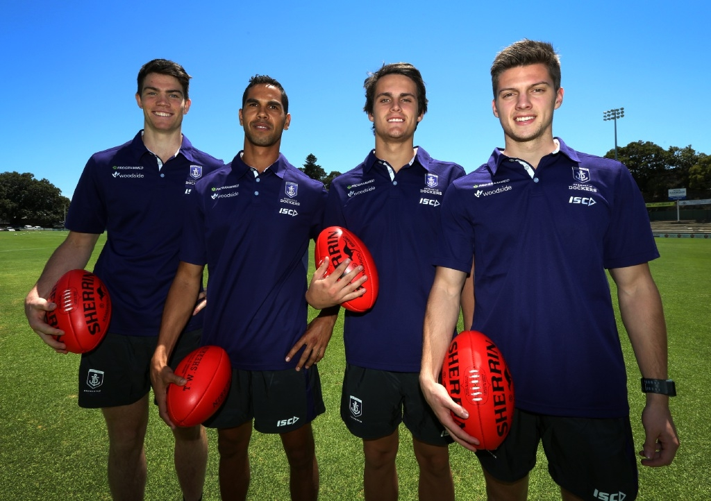 Fremantle Dockers new recruits Sam Collins, Shane Yarran, Harley Balic and Darcy Tucker.