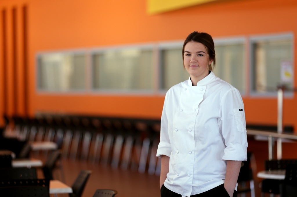 Alanah Fischer is working hard towards a career in the hospitality industry. Picture: Martin Kennealey         d446800