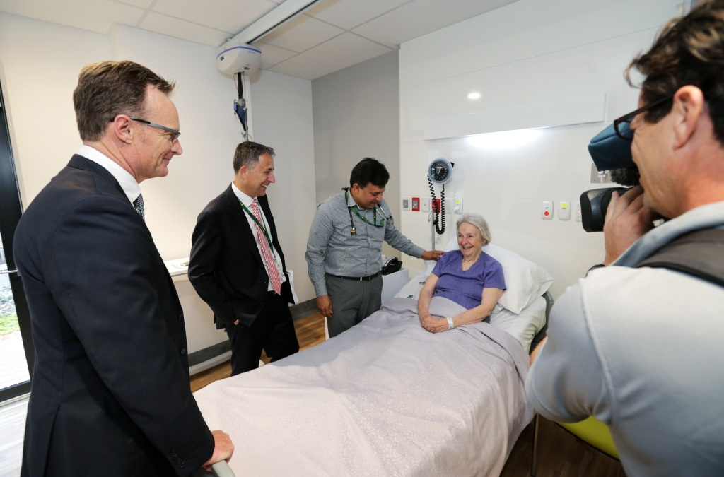 Dr Lachlan Henderson, Dr Glen Power and Dr Thomas Chemmanam with the hospital's first patient, Margery Short. Picture: David Baylis        www.communitypix.com.au   d446972Gerry Hanssen, Daniel Parasiliti and Graeme Harris. Philip Aylward and Wayne Salvage.Premier Colin Barnett (fifth from left) with some of his parliamentary colleagues at the opening of the new St John of God Midland Public Hospital.