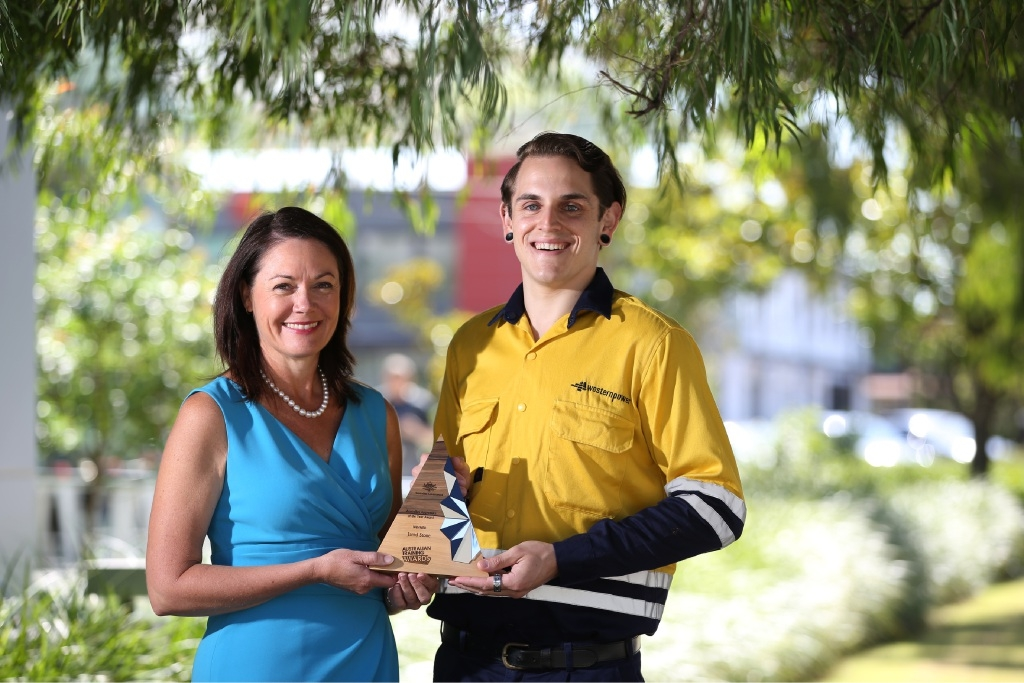Apprentice of the Year Jared Stone with Training and Workforce Development Minister Liza Harvey.