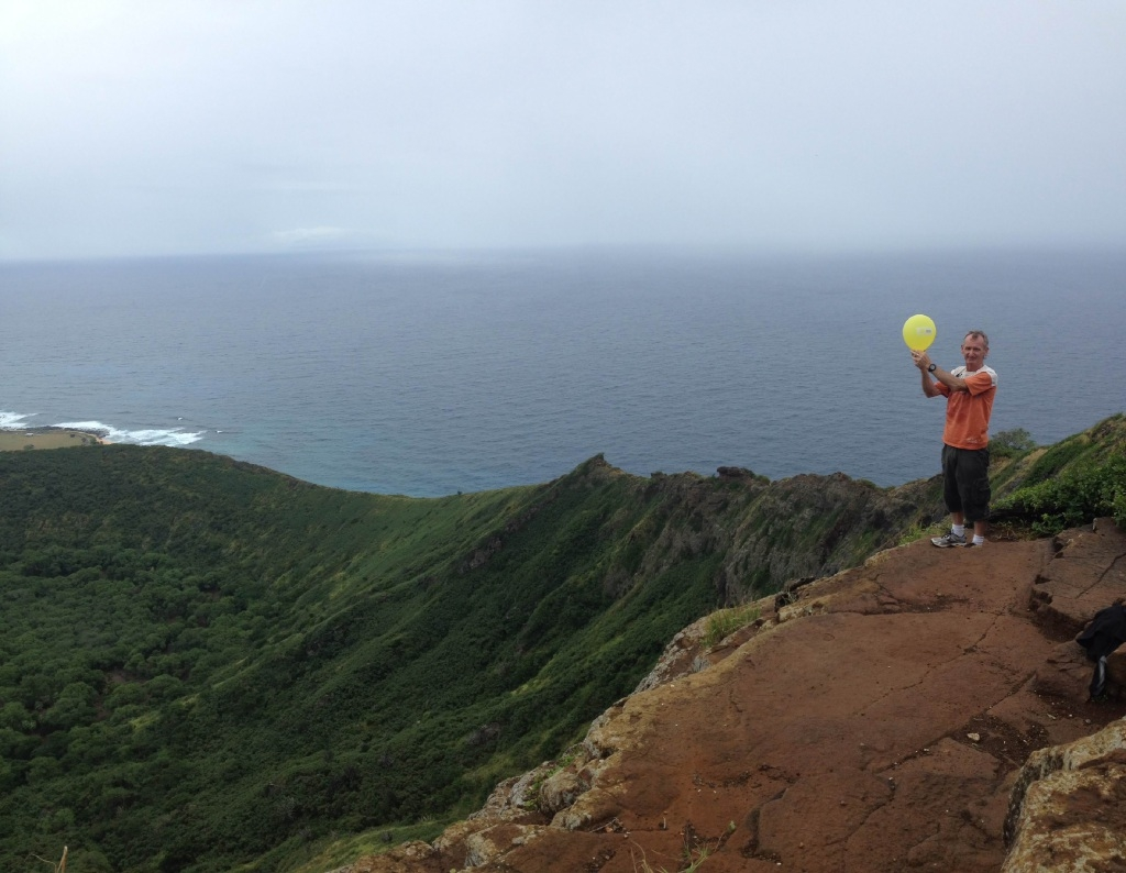 Gerry Coleman released a Cancer Council balloon in Hawaii to honour his sister.