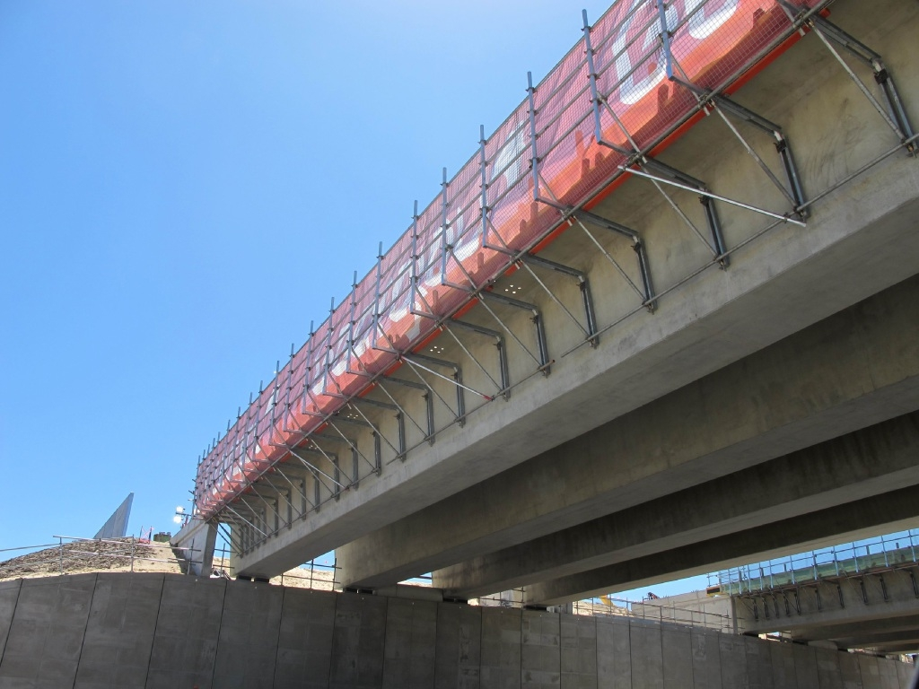 The new Reid Highway bridge in place over Malaga Drive.