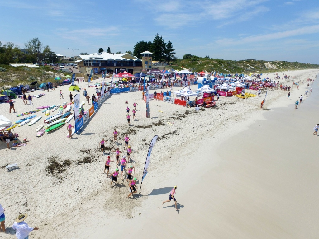 Hundreds of nippers competed at Mullaloo beach. Picture: Carlo Tenaglia