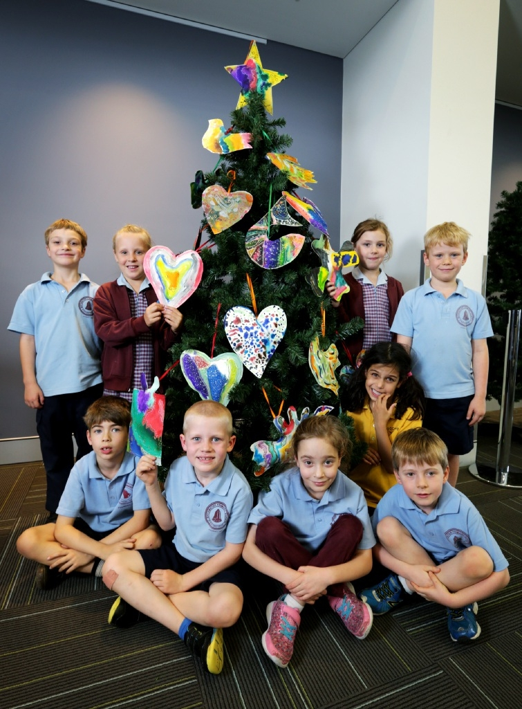 Year 1 students from Bayswater Primary School with their |Christmas tree. Picture: David Baylis www.communitypix.com.au   d446584